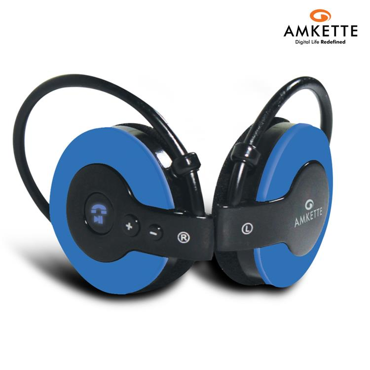 AMKETTE 700 BL OVER-EAR BLUETOOTH HEADPHONES (BLUE & BLACK)