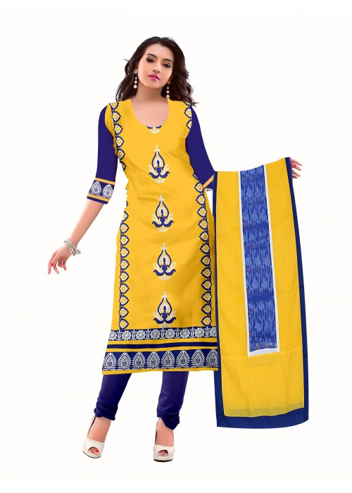 yellow salavar suit with blue chudidar