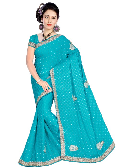 Turquoise Blue Moti Work Saree