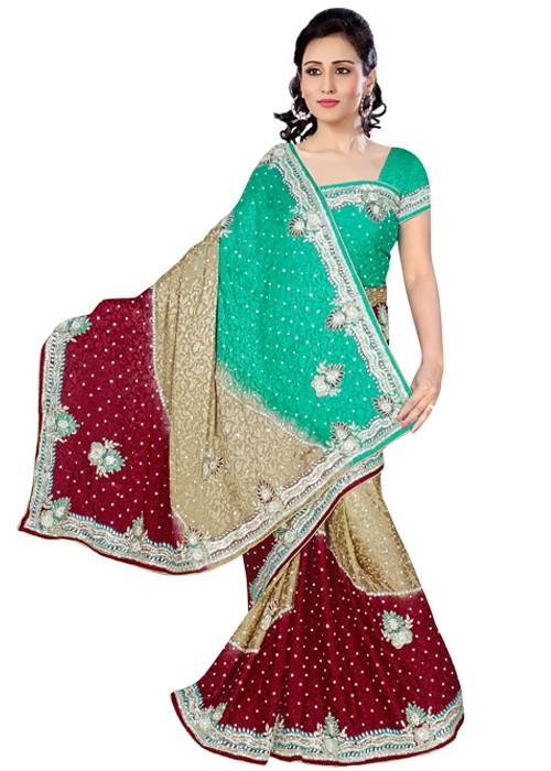Elegant Three Coloured Jacquard Saree