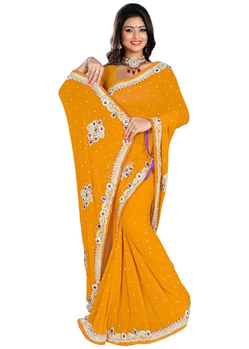 Light Orange-Plain Jaypuri Saree