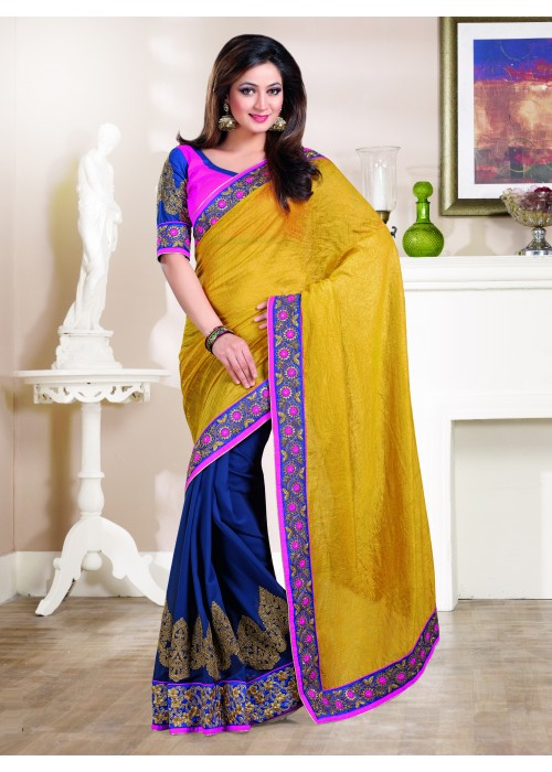 Yellow and blue half cotton georgette saree