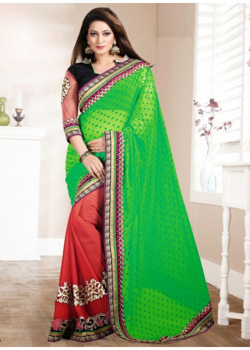 Green & rust color half n half saree
