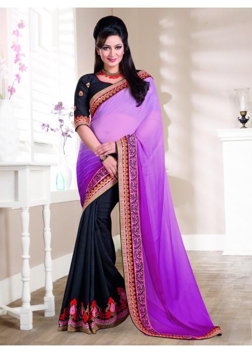 Pink & black striking party wear saree