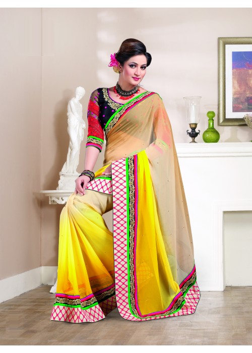 yellow and cream chiffon saree