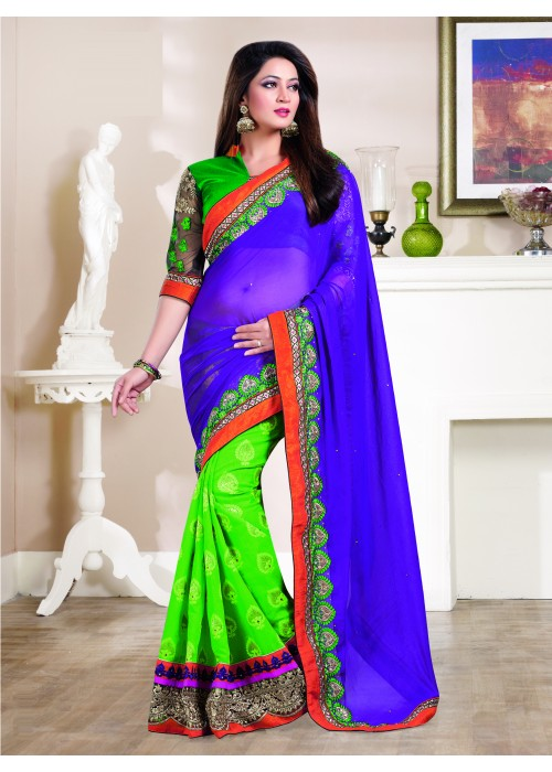 blue and green georgette & jacquard saree