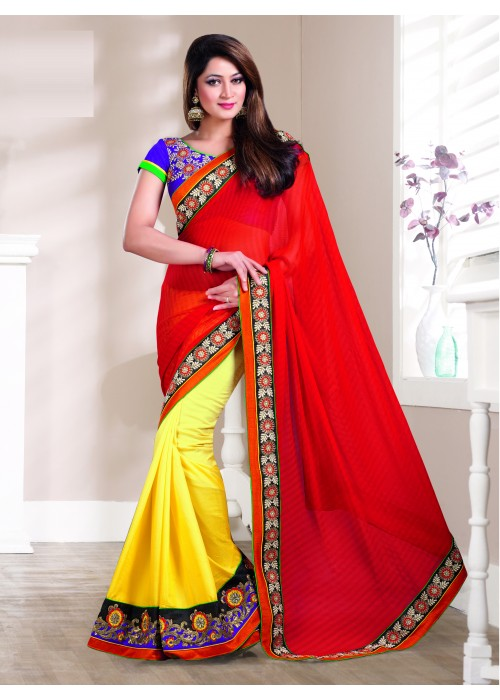Red and yellow cotton lehenga style saree