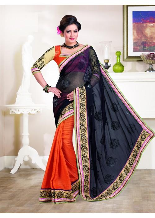 Papaya Orange & black chiffon saree