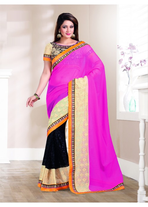 pink and Black half net half brasso saree.
