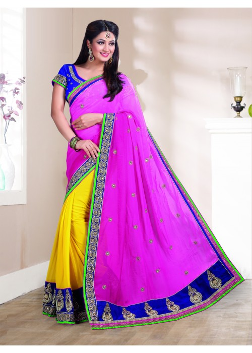 Pink and yellow half half bhagalpuri saree