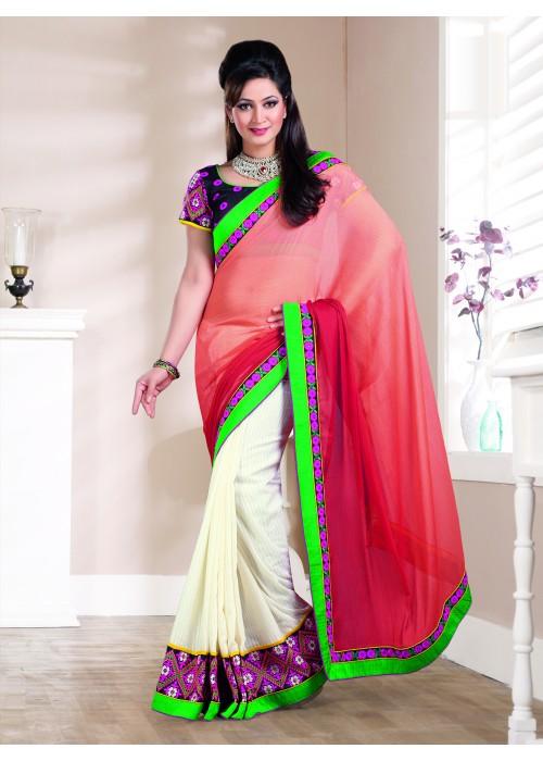light orange and cream Cotton saree