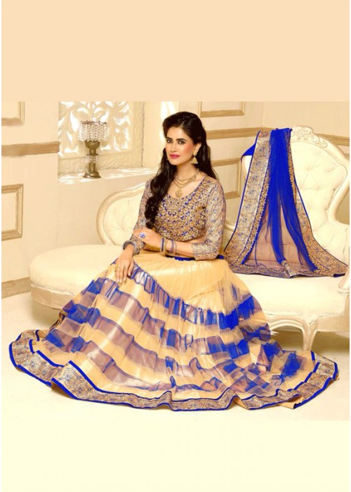 Blue and off white lahenga choli