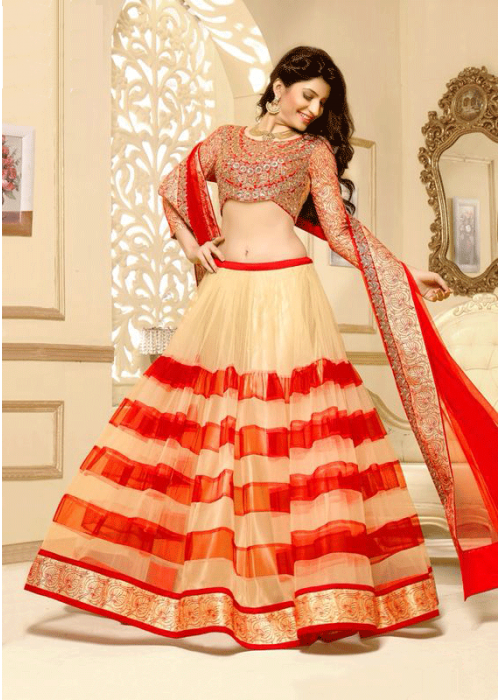 Tomato red and off white lahenga choli