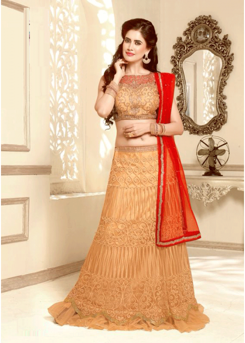 Flaunting Beige & red net lahenga choli