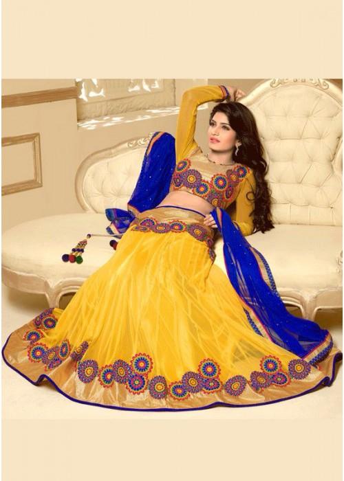 Yellow Net lahenga choli with blue dupatta