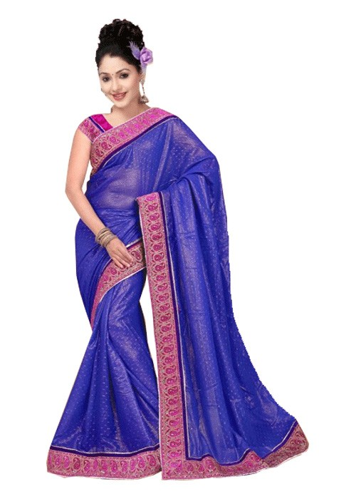 VELVET MANGO BORDER THOUSAND BUTTI SAREE