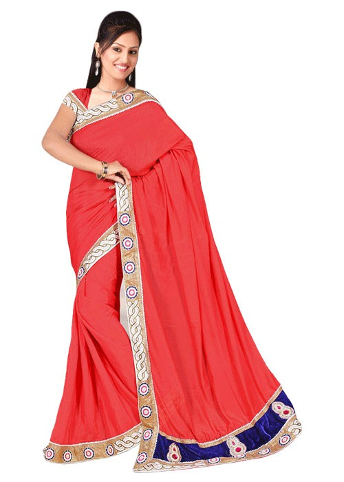 PLAIN SAREE WITH RICH VELVET PALLU