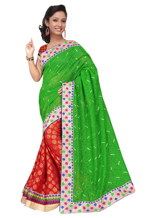 HALF N HALF SAREE WITH MULTI COLOUR RICH BORDER
