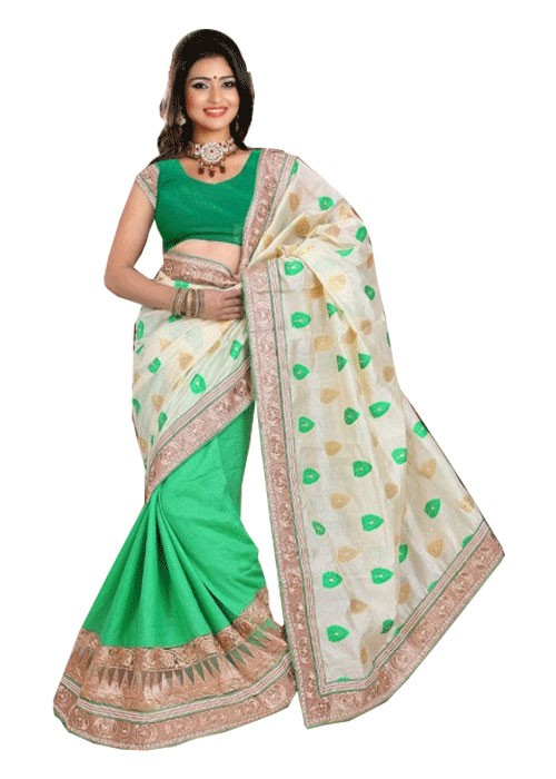 HALF JACQUARD AND HALF EMBOSS SAREE