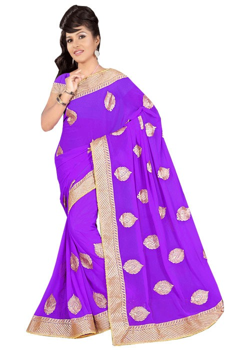 PLAIN SAREE WITH KASAB WORK