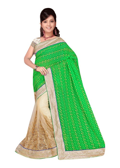 LAHENGA STYLE SAREE WITH RICH PLEATS