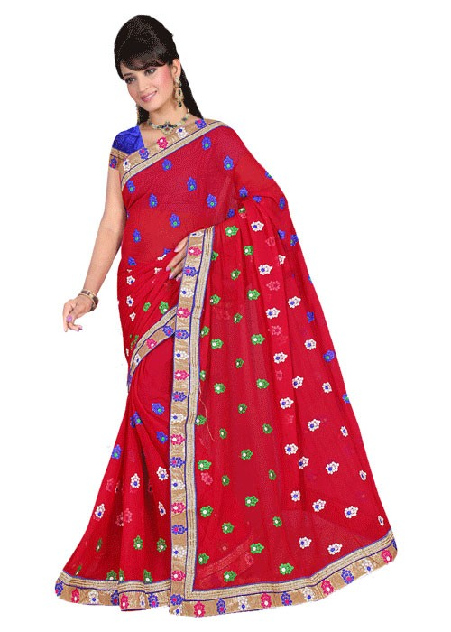 PLAIN SAREE WITH BUTTIES AND GOLDEN BORDER