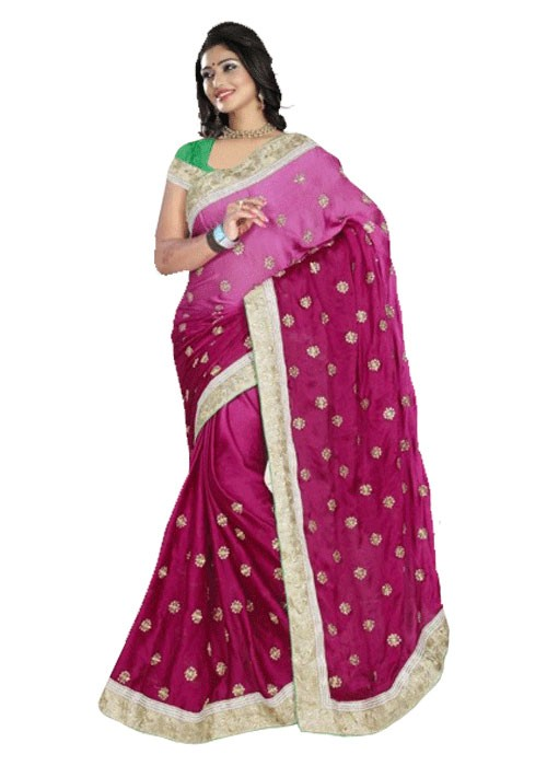 SHADED PINK RAJWADI SILK SAREE WITH HEAVY BORDER