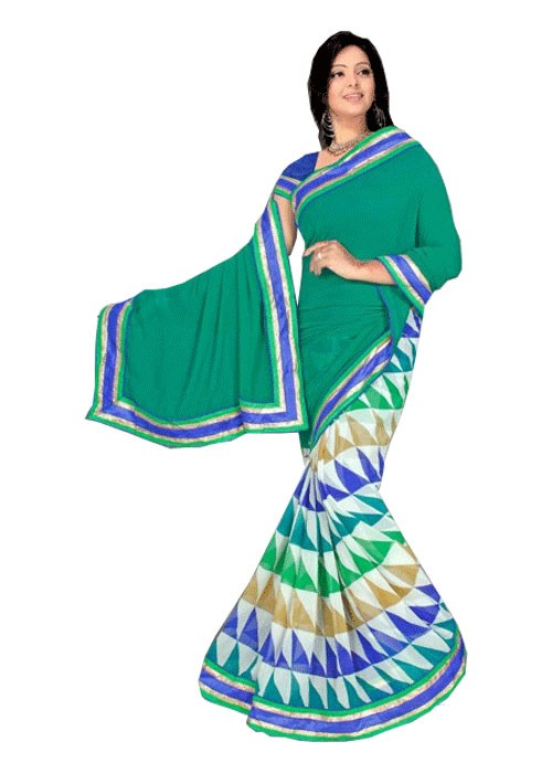 Green Half Printed Half Plain Saree