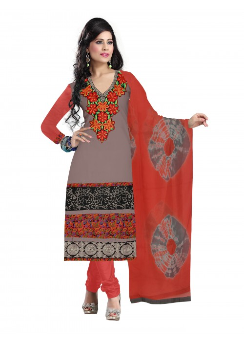 Grey and red Salwar Kameez with Dupatta