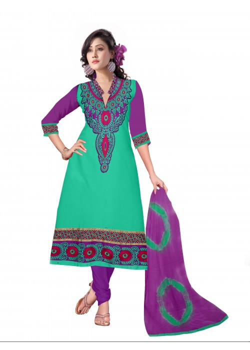 Aqua green and purple salvar kameez