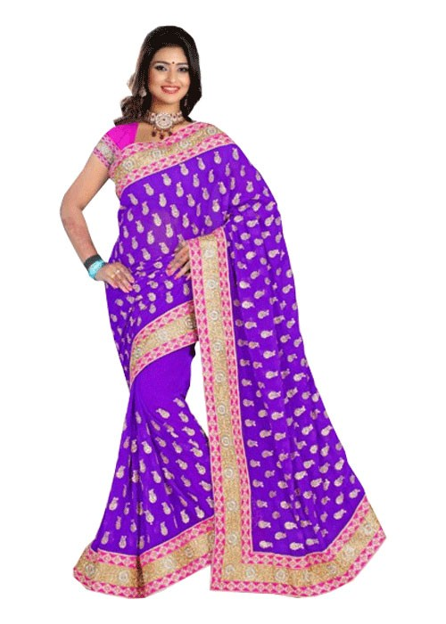 LOVELY LAVENDER SEQUENCE SAREE WITH TRIPLE BORDER