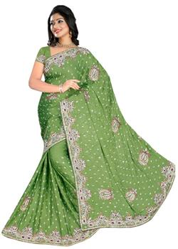 Olive Green Saree With Rich Work