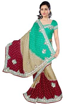 Elegant Three Coloured Jacquard Saree