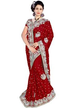 Red Saree With Heavy Stone Work