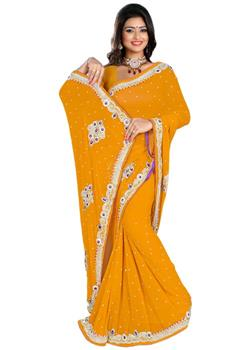 Light Orange-Plain Jaypuri Saree