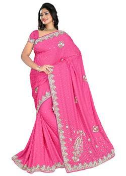 Pink Jacquard Saree