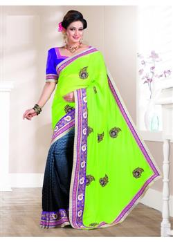 Black & green nylon chiffon designer saree