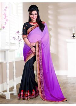 Pink & black striking party wear saree