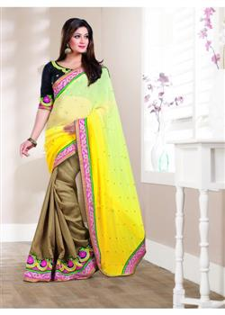 Yellow and golden chiffon and cotton saree