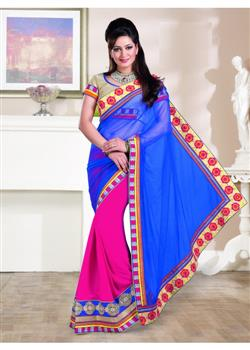 Blue and magenta party wear saree