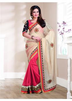 Cotton georgette red and beige saree