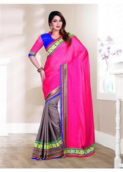 Attractive Pink and gray designer saree