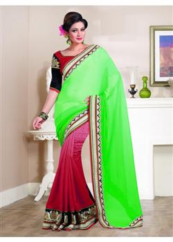 green and red georgette party wear saree
