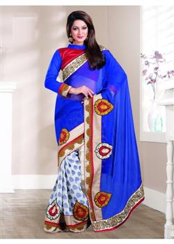 blue and white viscose butta georgette saree