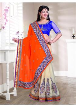 orange and beige georgette patch work saree