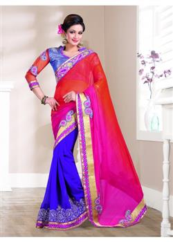 Orange and pink rich embroidered pleats saree