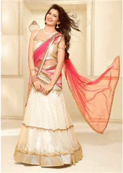 Beige chaniya choli with pink dupatta