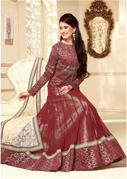 Dark red lahenga choli with net dupatta