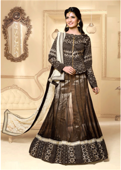 Black & cream net lahenga choli
