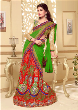 Red and green multicolor lahenga choli